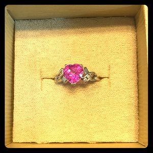 Pink sapphire promise ring 10K white gold